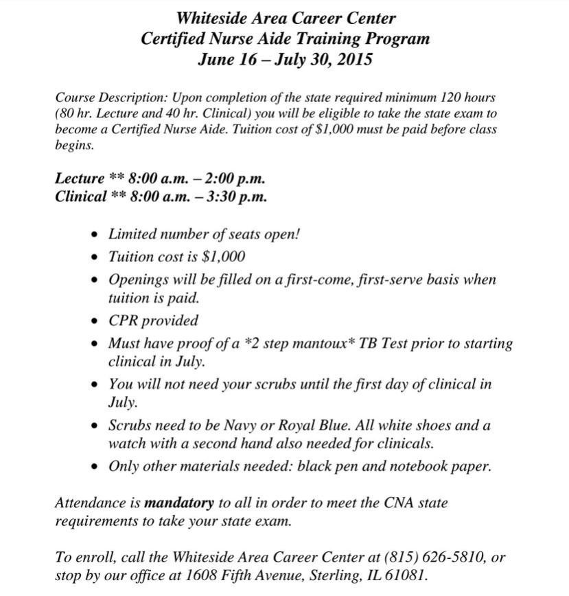 2015 Cna Flyer Whiteside Area Career Center